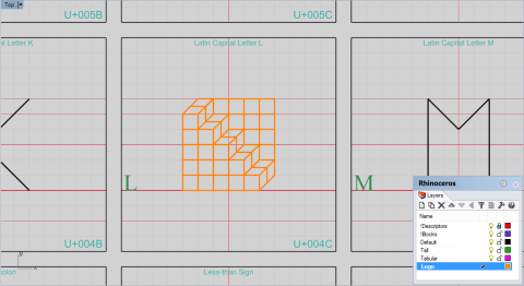New geometry inside the 'L' cell, on the 'Logo' layer.